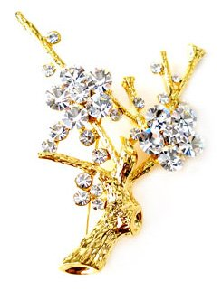 Sparkling Austrian Crystal 14K Gold EP Tree Brooch BP14