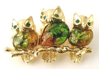 Adorable Owls on Branch Crystal Enamel 14k Gold EP Brooch BP16