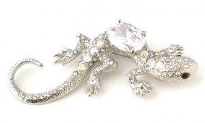 """Exquisite 3.5"""" Crystal Pave Lizard CZ Rhodium Finish Brooch BP01"""