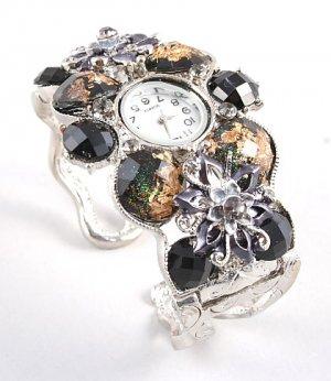 Chunky Crystal Flower Pattern Cuff Watch WW127