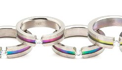 Floating CZ  Gay Pride Rainbow Titanium Ring SSR18  Sz 11, 12