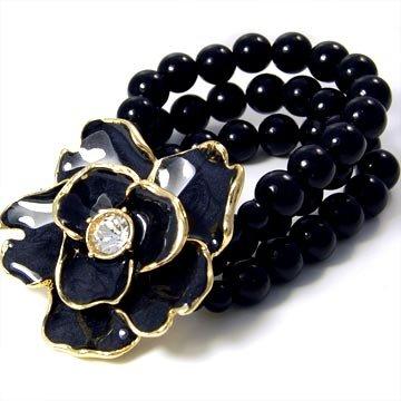 "2"" Black Flower CZ Glass Pearl Strands Stretch Bracelet BR15"