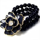 "2"" Black Flower CZ Glass Pearl Strands Stretch Bracelet BR15"