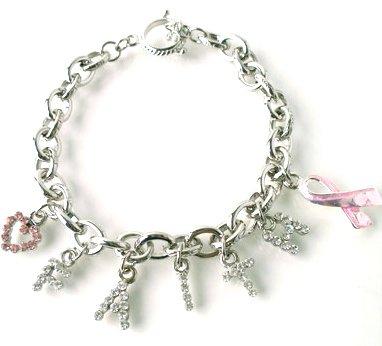Crystal FAITH Pink Ribbon Breast Cancer Heart Charms Bracelet BR45