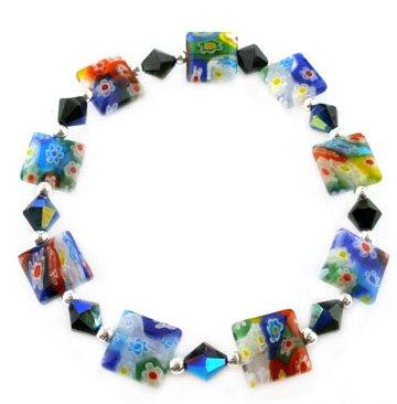 Multicolor Square Murano Glass Flowery Beads Stretch Bracelet BR38