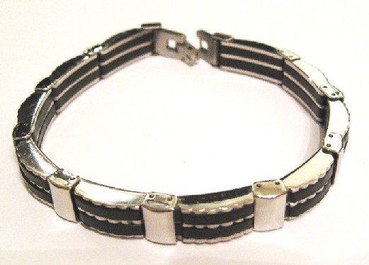 Black Rubber Stainless Steel Bracelet SSB22