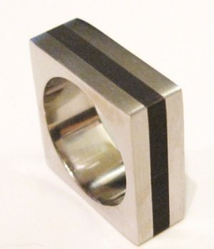 Unique High Polish Square Black Stripe 316L Stainless Steel Ring, Size 5, 7, 8