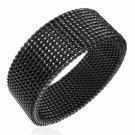 8mm Unisex Black Flexible Mesh Stainless Steel Ring SSR528 Sz 13