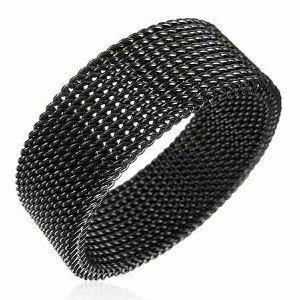 8mm Unisex Black Flexible Mesh Stainless Steel Ring SSR528 Sz 13