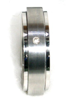 CZ Unisex Stainless Steel Spinning Rotating Ring SSR26