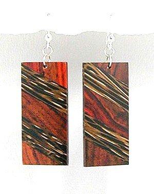 Exotic Wood Dangle Earrings 92.5 Sterling Silver Hooks EA73