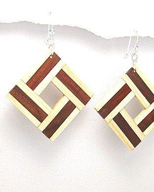 Exotic Wood Dangle Earrings 925 Sterling Silver Hooks EA72