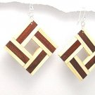 Exotic Wood Dangle Earrings 925 Sterling Silver Hooks EA72