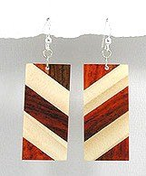 Exotic Wood Dangle Earrings 92.5 Sterling Silver Hooks EA79