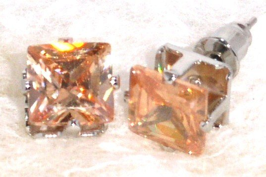 6mm Sparkling TOPAZ Square Faceted CZ Stud Post Earrings EA206 TPZ
