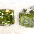 6mm Sparkling Square GREEN Faceted CZ Stud Post Earrings EA202 GR