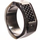 Men's Carbon FIber Stainless Steel Ring SR1866 Sz 6.5 - 7 - 8 - 9 - 10 - 11 - 12