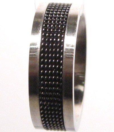 Black Mesh Strip Stainless Steel Ring SSR1757 Sz 9.5