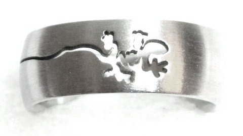 Laser Cut Lizard Stainless Steel Ring Sz  9