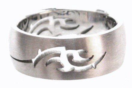 Tribal Laser Cut Satin Finish Stainless Steel Ring SSR42
