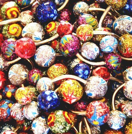 5 Assorted Handpainted Glitter Glazed Navel Belly Rings Wholesale