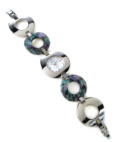 Circle Abalone Shell Stainless Steel Links Watch WW102