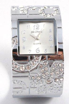 Clear Crystal Silver Chunky Cuff Watch WW129