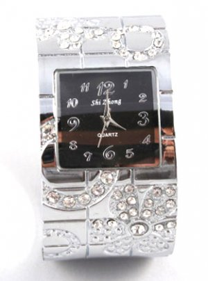 Clear Crystal Chunky Fashion Cuff Watch WW128