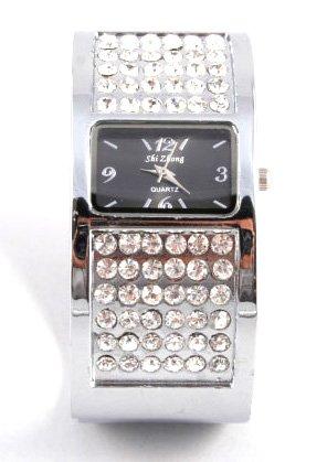 Chunky CZ Silver Cuff Fashion Watch WW122