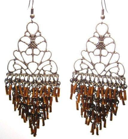 Intricate Copper tube cascade drop chandelier earrings EA46