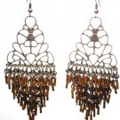 Intricate Copper tube cascade drop chandelier earrings EA46