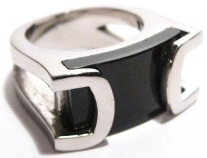 Unisex Chunky Black Onyx Stainless Steel Ring, SSR2690