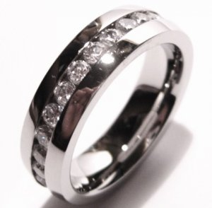 Unisex Stainless Steel Clear CZ Eternity Ring SSR1161