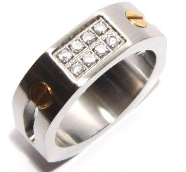 8mm Octagonal CZ  and Screws Stainless Steel Ring SSR2253