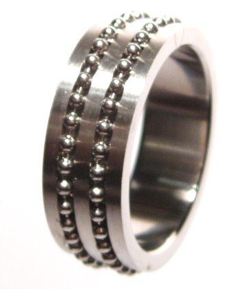 Satin Finish Ball Chain Unisex Stainless Steel Ring SSR493