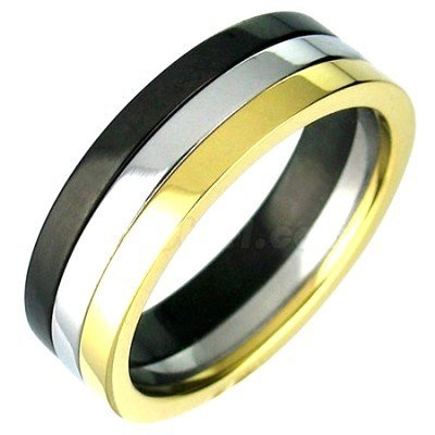 Black Gold Silver Stainless Steel Ring SSR2295