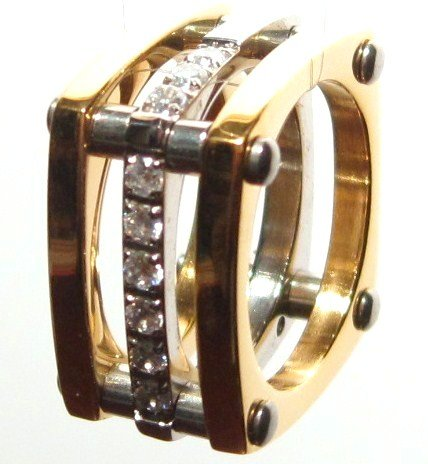 12mm Unisex Square Gold Stainless Steel Clear CZ Ring SSR1033
