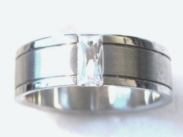 Unisex Baguette Shape Clear CZ Stainless Steel Ring SSR24