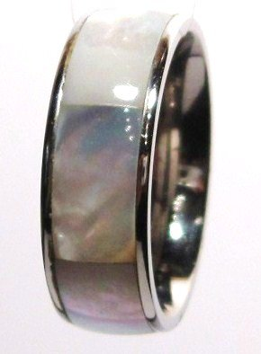 8mm Shell Inlay Stainless Steel Band Ring SSR702, Sz 10