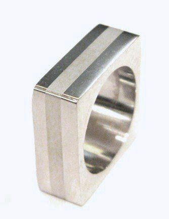 White Resin Stripe Square Stainless Steel Statement Ring SSR1864  Size 5