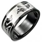 Black Stainless Steel Dragon Ring SSR605 Sz 10.5