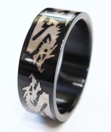 Unisex High Gloss Black Stainless Steel Dragon Ring SSR519