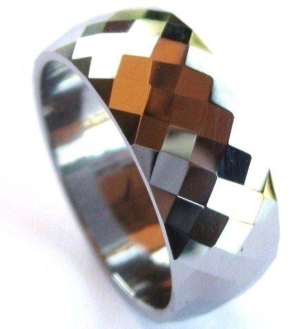8mm High Polish Faceted Tungsten Carbide Ring TU3044
