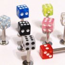 5 Assorted Colors Dice Lip Chin Labret Wholesale Lot, 14g BJ133