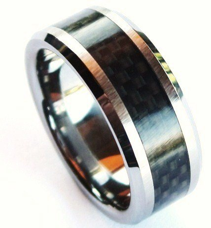 Black Carbon FIber Tungsten Carbide Ring TU3051