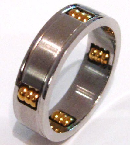 Mens Spinning Gold Balls Stainless Steel Ring SSR2629