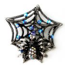 Crystal Spider Web Antique Black Metal Brooch Pin Brooch  BP42