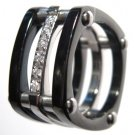 12mm Unisex Square BLACK Stainless Steel CZ Ring SSR1044