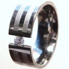 Floating CZ Stainless Steel Ring SSR27, Size 8, 10