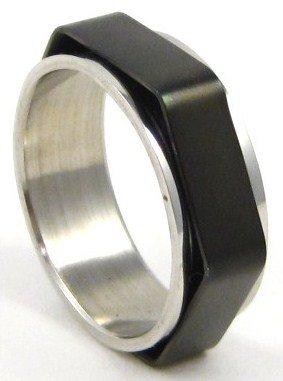 8mm Shiny Black Hexagonal Spinning Stainless Steel Ring SSR33 Sz 9